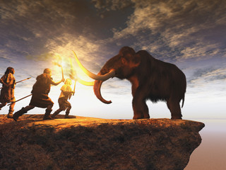 Hombres prehistóricos cazando un joven mamut