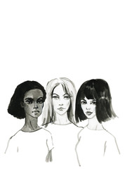 Painting portrait of young feminist women. Hand drawn asian, afro american and european girls. Watercolor fashion black and white illustration on white background