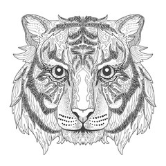 Doodle coloring book with tiger head.
