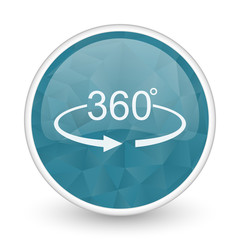 Panorama 360 brillant crystal design round blue web icon.