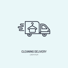 Delivery line icon, fast dry cleaning courier logo. Transportation flat sign, illustration for shipping business.