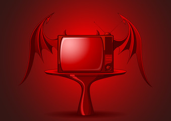 Red evil retro TV with wings on dark background