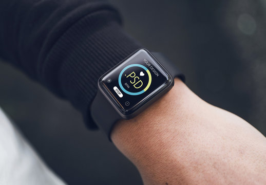 Close View Mockup of User's Smartwatch 1