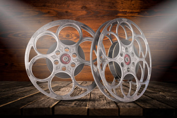 Old fashioned motion picture film reels.