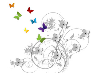 Abstract floral theme with butterflies  for design