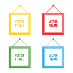 Flat design colorful picture frame set, collection isolated on white background.