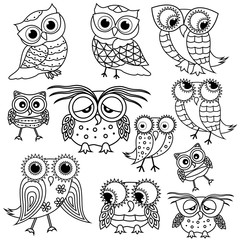 Eleven cartoon funny owl outlines