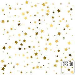 Gold Yellow Starry Background. Vector Confetti Star Background Pattern. Starlight Night.  Golden Starlit Card. Confetti Fall Chaotic Decor.