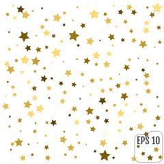 Gold Stars. White background. Vector illustration.