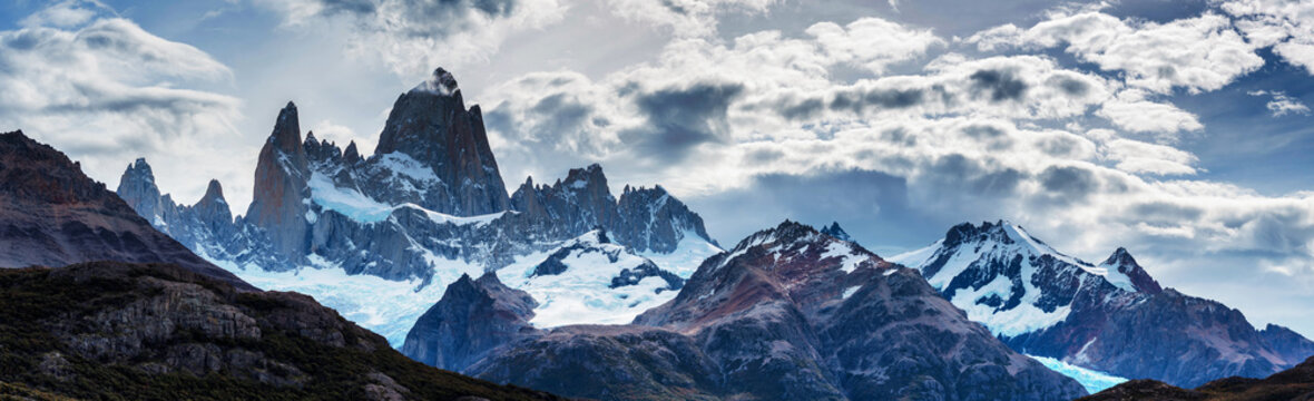 Panorama of Mount Fitz Roy in Patagonia in Argentina and its neighboring granite towers