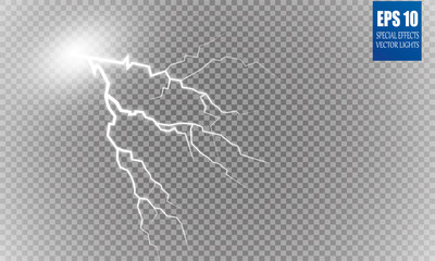 Vector lightnings. Set. Light Effects. Storm and sparkle, the fog cloud.