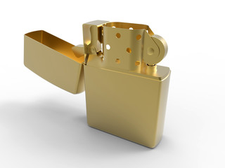 3D concept - golden lighter illustration