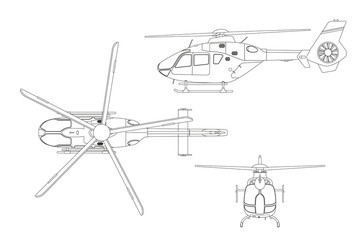Outline drawing of helicopter on white background. Top, side, front view. Technical blueprint