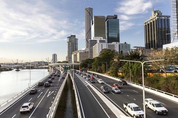 Brisbane City Australia cityscape and pacific highway