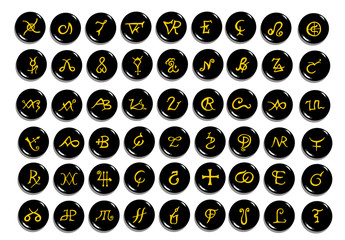 A set of  golden alchemical symbols carved on stone isolated on white. Hand drawn elements for design. Mystical, esoteric, occult theme.