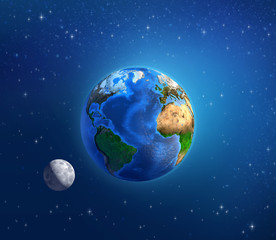 Wall Mural - Planet Earth and moonlight in deep space