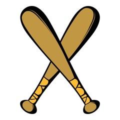 Two crossed baseball bats icon, icon cartoon
