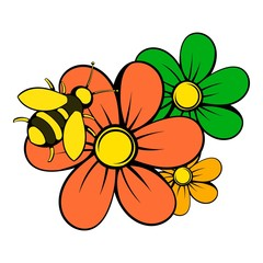 Flowers icon, icon cartoon
