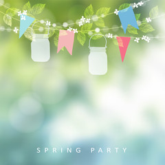 Birthday garden party or festa junina greeting card, invitation. String of lights, paper flags and mason jar lanterns. Blurred vector background, banner.