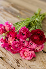 Bouquet of pink ranunculus lying on rustic tabletop