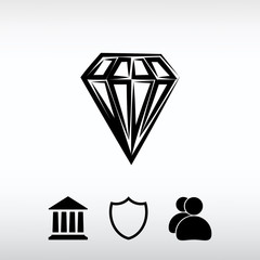 Diamond icon, vector illustration. Flat design style