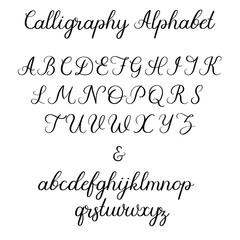 Calligraphic alphabet. Handwritten brush font. Uppercase, lowercase, ampersand. Wedding calligraphy