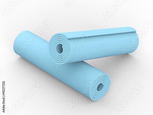 3D illustration two blue yoga mat