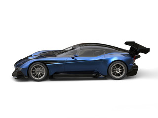 Navy blue metallic awesome super car - side view