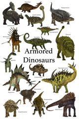 Armored Dinosaurs - A collection of various armored dinosaurs from different prehistoric periods of Earth's history.