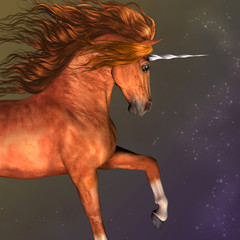 Dapple Chestnut Unicorn - A unicorn is a mythological creature that has the body of a horse and a magical horn on its forehead.