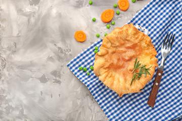 Delicious chicken pot pie on napkin