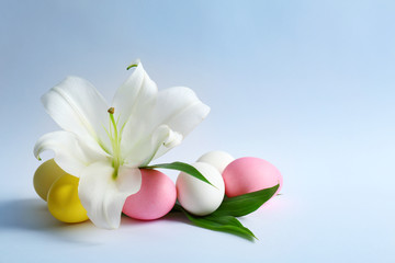 Beautiful composition with lily and Easter eggs on white background