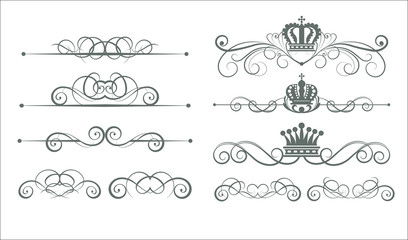 Victorian Scrolls and crown. Decorative elements. Vector art. Vintage