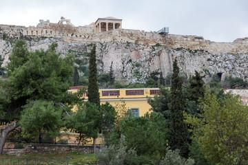 Sunset view of Roman Agora in Athens, Attica, Greece