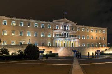 Night photo of Syntagma Square in Athens, Attica, Greece
