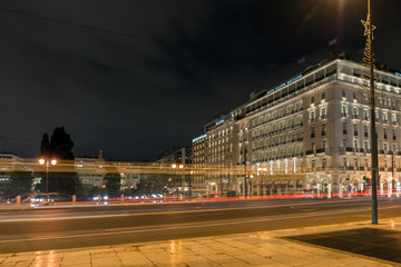Night photo of Syntagma Square in Athens, Attica, Greece