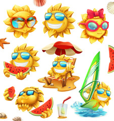 Fun summer sun, vector characters. 3d icon set