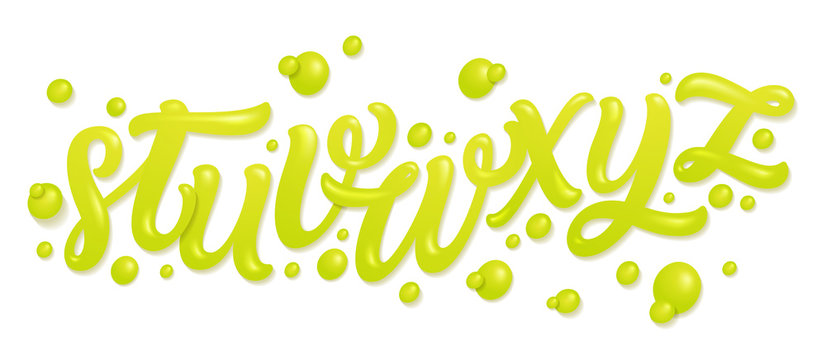 Font set with letters. Alphabet made of fresh lime juices isolated on white. Liquid letters. Vector illustration made of water.