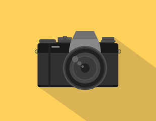Mirrorless camera picture illustration with black color and orange background