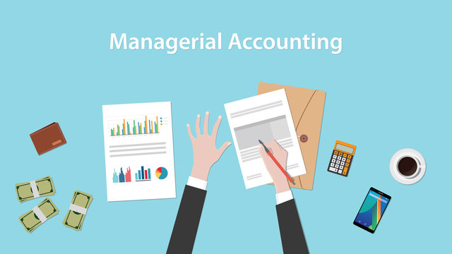 managerial accounting illustration with a man signing paperworks and folder document, money and calculator on top of table