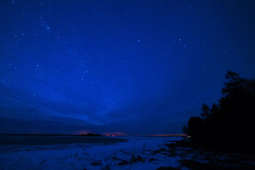 Milky way over Lake Huron in Winter on the Bruce Peninsula