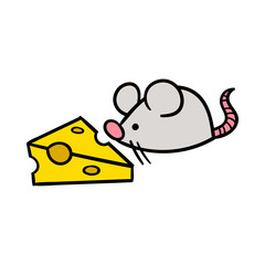 Cartoon Mouse and Cheese Vector Illustration