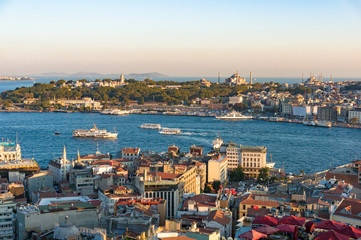 Aerial view of Fatih district with Blue Mosque and Golden Horn bay