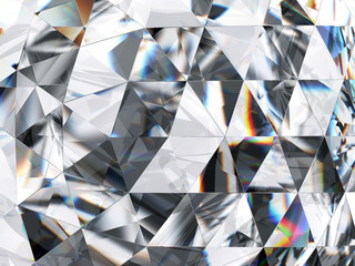Diamond and Crystal Close-Up Texture Background, 3d rendering