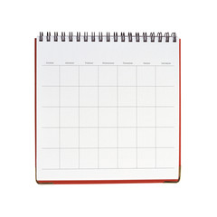 Blank calendar template isolated on white background with clipping mask.
