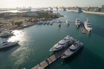 Aerial photo Luxury yachts in Miami