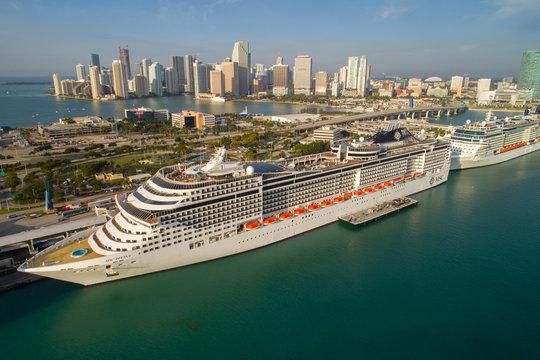 Aerial photo Cruise ships at Port Miami