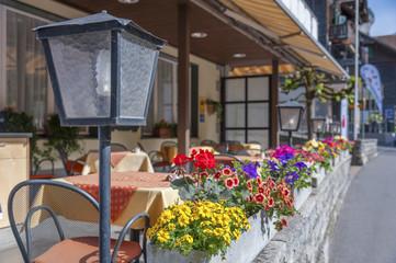 Sidewalk cafe terrace