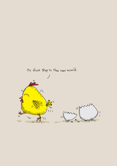 Cute cartoon chicken Exiting eggs, character design