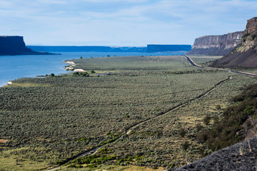 Grand Coulee and Banks lake in Eastern Washington state, USA
